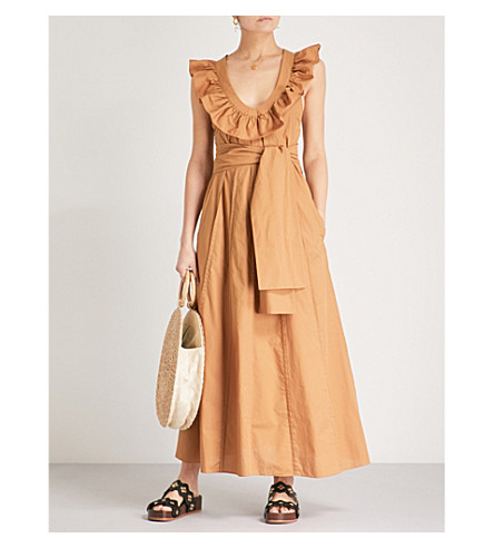 THREE GRACES LONDON Josephine cotton-poplin dress (Dark+mustard+poplin