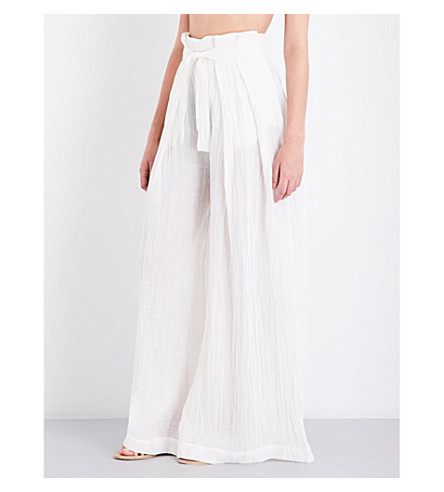 THREE GRACES LONDON Rosalinda wide-leg linen-blend trousers (Ecru