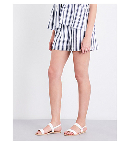 THREE GRACES LONDON Alcine striped linen and cotton-blend shorts (Saunton+stripe