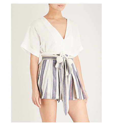 THREE GRACES LONDON Kilman self-tie stretch-cotton shorts (Lalaria+stripe