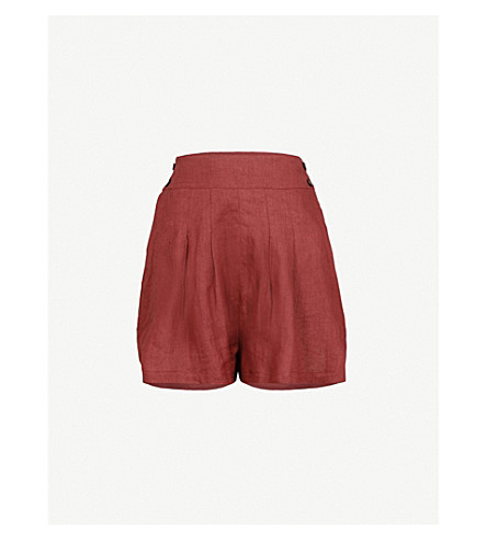 THREE GRACES LONDON Rhoda wide-leg high-rise linen shorts (Brick