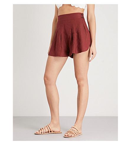 THREE GRACES LONDON Rhoda wide-leg high-rise linen shorts (Brick