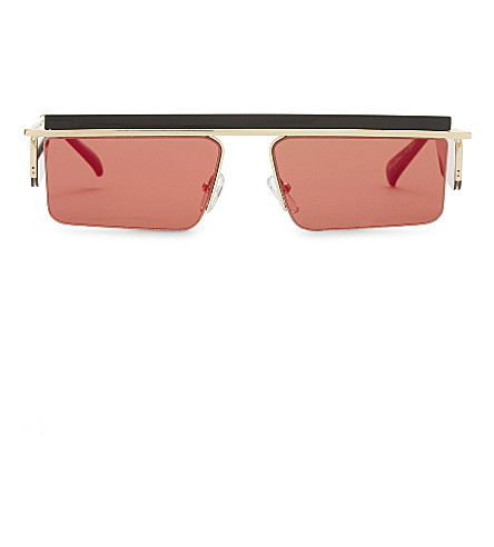 LE SPECS The Flex rectangle-frame sunglasses (Gold/blackred+mirror