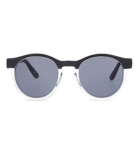 LE SPECS Hey Macarena round-frame sunglasses (Matte black/clear