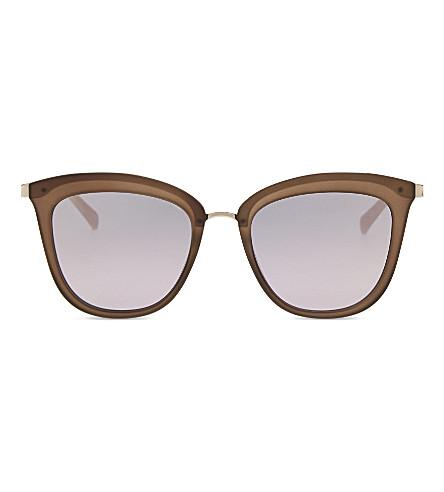 LE SPECS Caliente square-frame sunglasses (Matte+mocha/gold