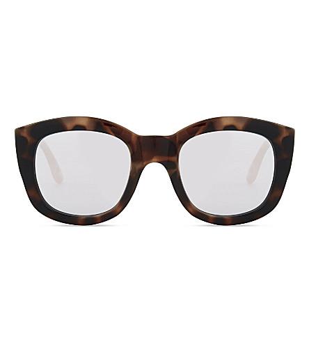 LE SPECS Runaways tortoiseshell square-frame mirror lens sunglasses (Volcanic+tort