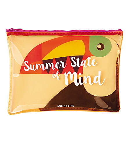 SUNNYLIFE Toucan transparent pouch (Red