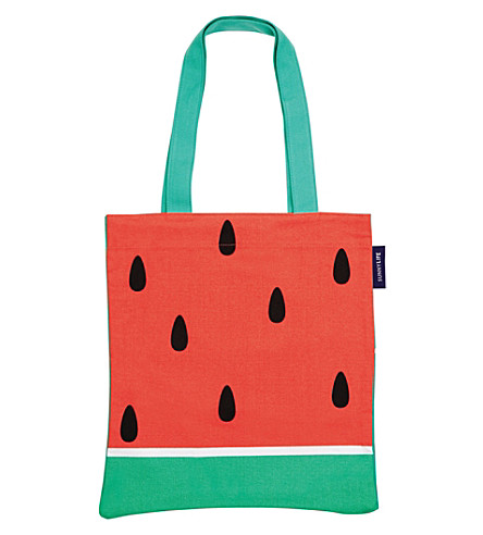 SUNNYLIFE Watermelon-print canvas tote bag (Red