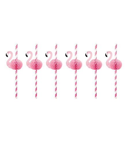 SUNNYLIFE Flamingo honeycomb straws (Pink