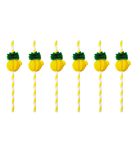 SUNNYLIFE Pineapple honeycomb straws (Yellow