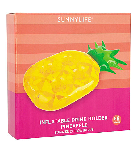SUNNYLIFE Pineapple inflatable drink holder (Yellow