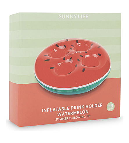 SUNNYLIFE Inflatable watermelon drink holder (Red+green