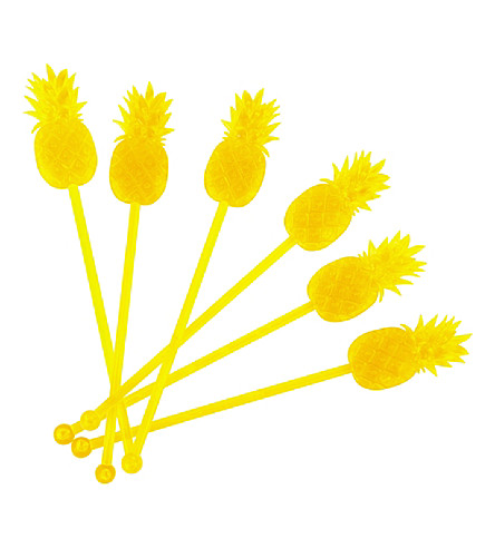SUNNYLIFE Pineapple cocktail stirrers (Yellow