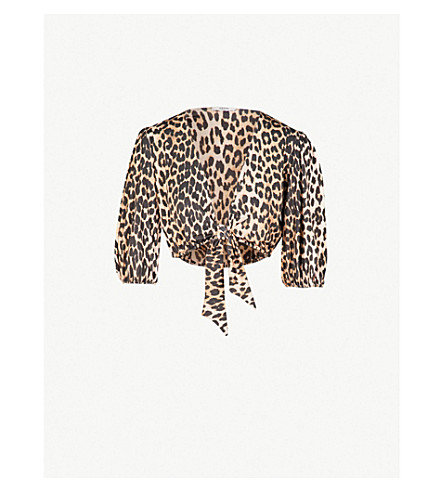 GANNI Avalon stretch-jersey cropped swim top (Leopard