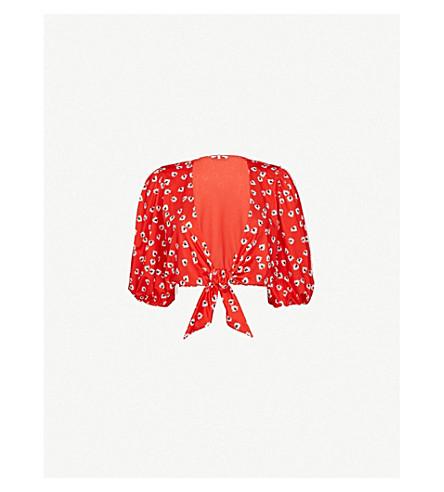 GANNI 鸽子弹力平纹针织九分款游泳顶部 (大 + 苹果 + 红色