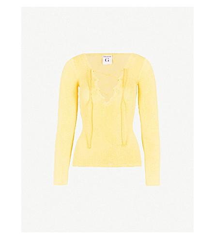 HUNZA G Debbie lace-up seersucker top (Yellow