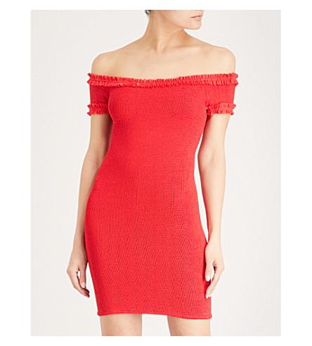 HUNZA G Frill off-the-shoulder seersucker mini dress (Red