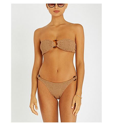 HUNZA G Gloria bandeau seersucker bikini (Coco+w.+tortoieshell