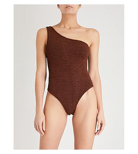 HUNZA G Nancy one-shoulder swimsuit (Metallic+bronze