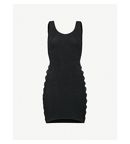 HUNZA G Bow-side textured dress (Black