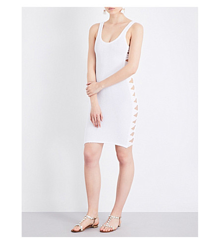 HUNZA G Bow-side textured dress (White
