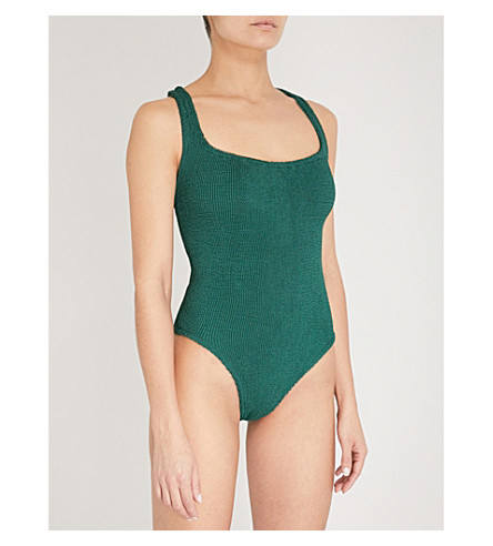 HUNZA G Cutout crinkled swimsuit (Forest+green