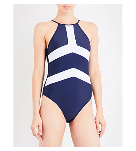 PERFECT MOMENT Nordic one-piece swimsuit (Navy/snow+white