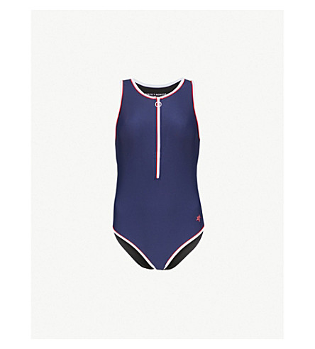PERFECT MOMENT Sporty zip-up swimsuit (Navy/red