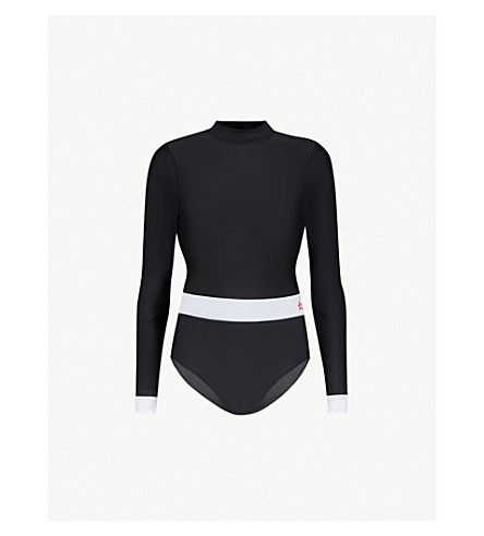 PERFECT MOMENT Wet Spring swimsuit (Black/snow+white
