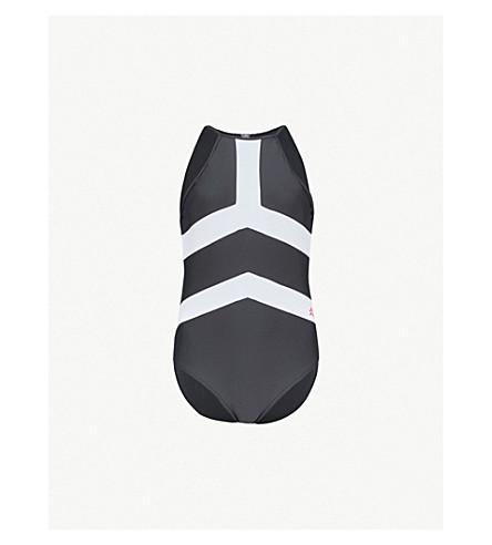 PERFECT MOMENT Nordic halterneck swimsuit (Black/snow+white