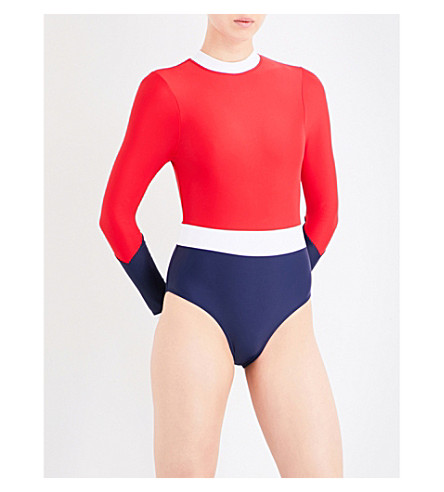 PERFECT MOMENT High-neck wet spring suit (Red/navy