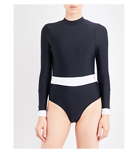 PERFECT MOMENT High-neck wet spring suit (Black/snow+white