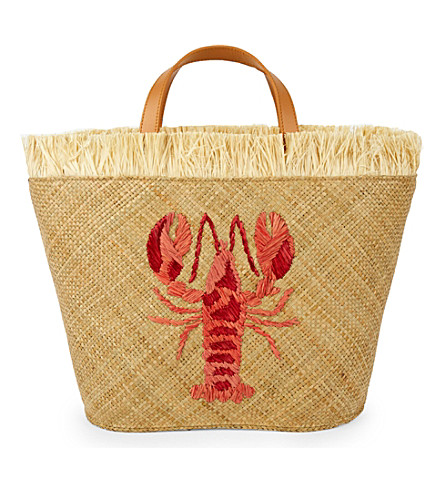 ARANAZ Lobster straw tote (Natural/red