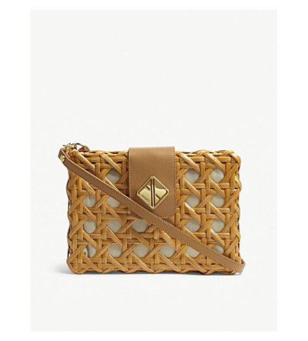 ARANAZ Charlie large wicker clutch (Tan
