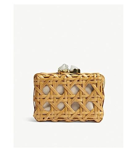 ARANAZ Wicker box clutch (Tan