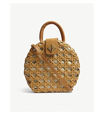 ARANAZ Charlie round wicker shoulder bag (Tan