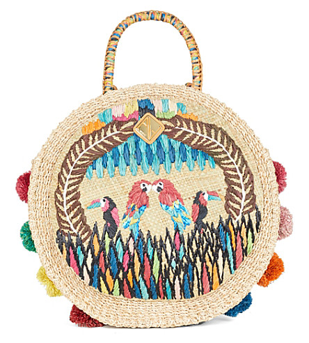 ARANAZ Charlotte Fiesta woven parrot bag (Multi