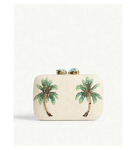 ARANAZ Palm tree woven box clutch (Green