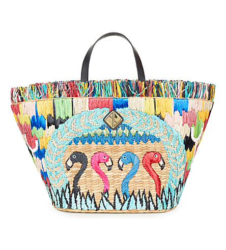 ARANAZ Flamingo Fiesta embroidered tote bag (Multi