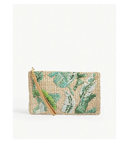 ARANAZ Banana leaf woven pouch (Green