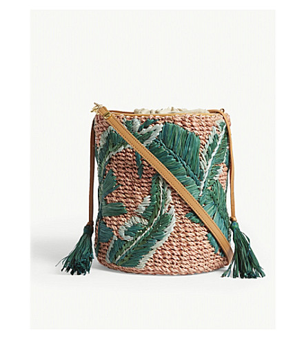 ARANAZ Woven mini banana leaf bucket bag (Green