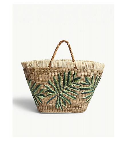ARANAZ Straw plant motif tote (Green