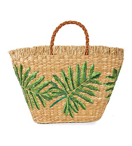 ARANAZ Planta straw tote (Natural/green