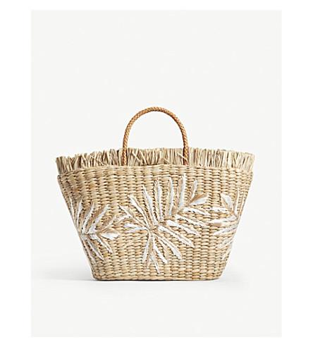 ARANAZ Planta straw tote (White