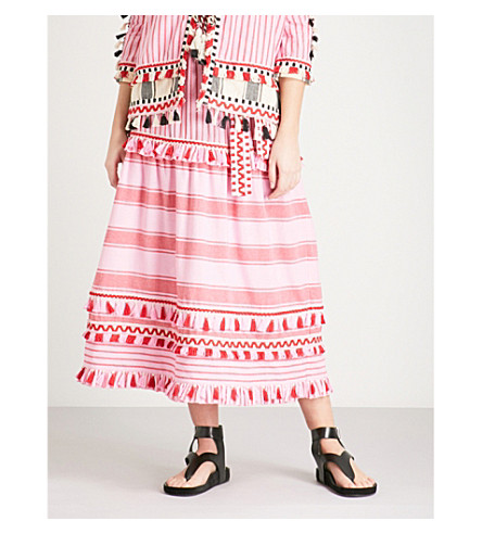 DODO BAR OR Gael tassel-trim cotton skirt (Pink