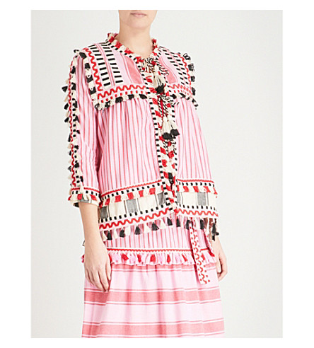 DODO BAR OR Marcus tassel-trim cotton shirt (Pink+and+black