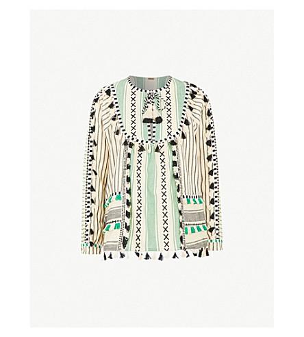 DODO BAR OR Aria tassel-trim cotton shirt (Green+and+black