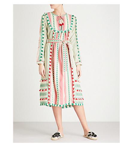 DODO BAR OR Aria tassel-trim cotton dress (Green+and+red