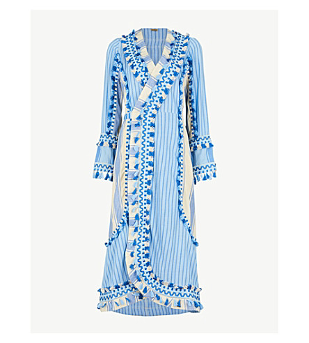 DODO BAR OR Miranda tassel-trim cotton dress (Blue+and+light+blue