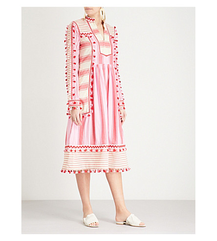 DODO BAR OR Stephanie tassel-trim cotton dress (Red+and+pink